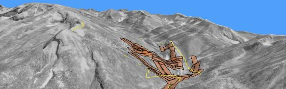 Three dimensional image of mountains draped with mining claims.